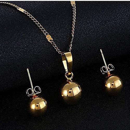 ZGYFJCH Co.,ltd Collar Bola de Perlas Collares y Colgantes Pendientes Mujeres Hombres Bola Redonda Collar de Bola Simple Pendientes Conjunto de Joyas Oro