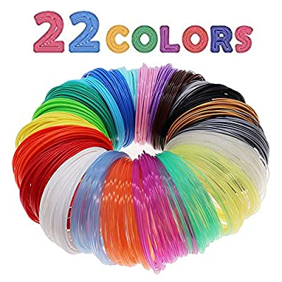 3D Pen/3D Printer Filament,1.75mm PLA Filament Pack of 22 Different Colors,High-Precision Diameter Filament, Each Color 10 Feet, Total 220 Feet, Pack with Extra Gift 2 Finger Caps by MIKA3D