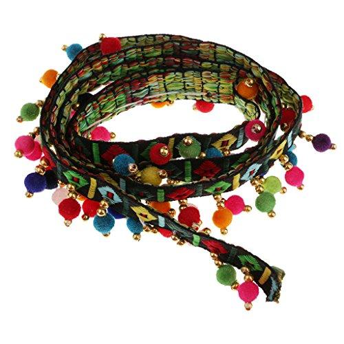 Sharplace Franja de Jacquard de Bordada Cinta de Borde de Flecos con Pompón de Estilo Vintage para Recorte DIY Costura - Negro