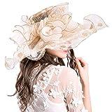 Xiang Ru Sommerhut mit breiter Krempe Oganza Sonnenkappe Kirche Hochzeit Party Hut für Frauen Gr. One size, weiß