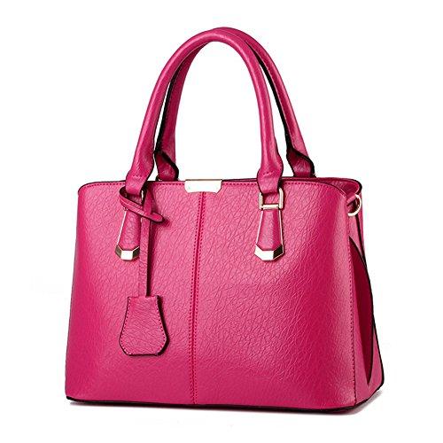 Pahajim Borsa a Mano Donna Borse Moda per Borse in Pelle PU Borsa a Mano Donna con Grande Capacità Maneggiare borse Borsa del messaggero (Rosa rossa)