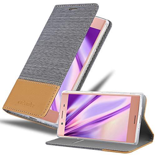 Cadorabo Custodia Libro per Sony Xperia XZ Premium in Grigio Chiaro Marrone - con Vani di Carte, Funzione Stand e Chiusura Magnetica - Portafoglio Cover Case Wallet Book Etui Protezione