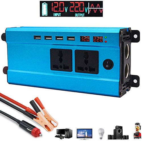 LIMEID 1200W Spannungswandler 12V 24V 48V 60V auf 220V 230V - Wechselrichter, Kfz-Wechselrichter mit 2 Steckdosen 4 USB-Ports inklusive Kfz-Zigarettenanzünderstecker Autobatterieclip,60V