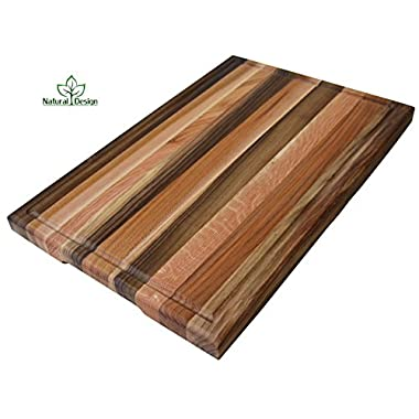 Cutting Board 16 x 10 x 1.2 inches Edge Grain Chopping Block with Juice Groove Wood: Walnut, Ash-tree, Oak, Red Oak, Maple, Cherry Hardwood Extra Thick Serving Platter Durable & Resistant