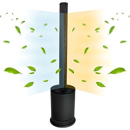 ファンヒーター スリムタワー型 HOT & COOL 空気清浄機能付き 自動首振り タイマー 自動電源オフ 送風・温風兼用 リモコン付 省エネ 静音 大風量 (ブラック, Large)