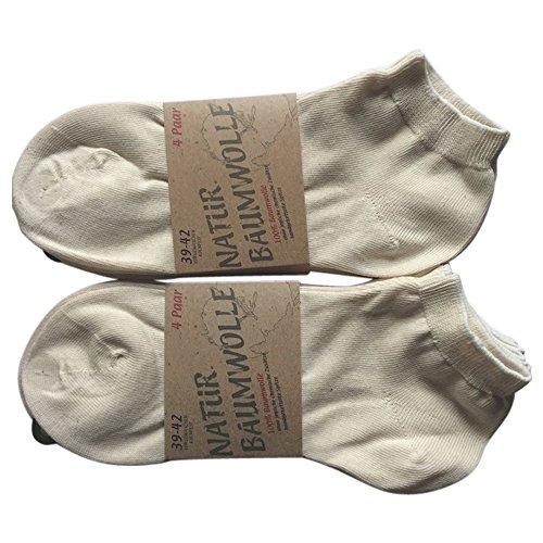 8 Paar Natur 100 % Baumwoll-Sneaker Socken Füsslinge ohne Naht Kochfest, Natur, 43/46