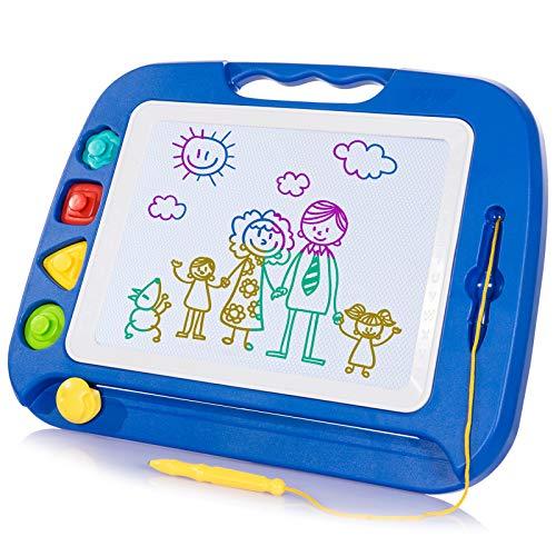 SGILE Ardoise Magique Grande - 42 X 33 cm Enfant Tableau de Dessin Magnétique Effaçable, Cadeau Jouet Educatif pour Bambin (Bleu)