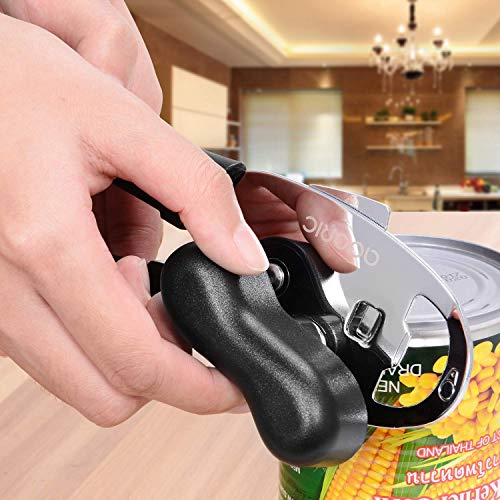 Can Openers Manual, ADORIC Stainless Steel Opener with Ergonomic Designed Comfort Grips, Smooth Edge-Ultra Sharp Cutting Tools (Black)