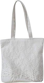 TENDYCOCO Große Kapazität der Frauen gestickte weiße Spitze-Schulter-Beutel-Handtaschen-Pastorale Segeltuch-magnetische Wölbungs-Einkaufstasche