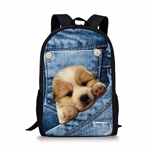 ALIKEEY 3D Print Animal Gato Perro Backpack Student School