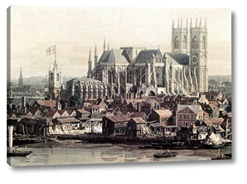 """View of London with The Thames - Detail by Canaletto - 21"""" x 30"""" Canvas Art Print Gallery Wrapped - Ready to Hang"""