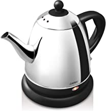 dretec Electric Kettle, Stainless Steel, Coffee, Drip Pot, Narrow Mouth, Hot Water Kettle, 0.2 fl oz (0.8 L) (Black)