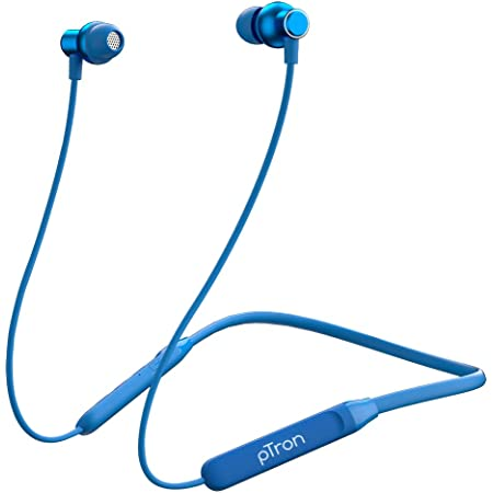 pTron Tangent Evo with 14Hrs Playback, Bluetooth 5.0 Wireless Headphones with Deep Bass, IPX4 Water Resistance, Ergonomic & Snug-fit, Voice Assistance, Magnetic Earbuds & Built-in HD Mic (Blue)