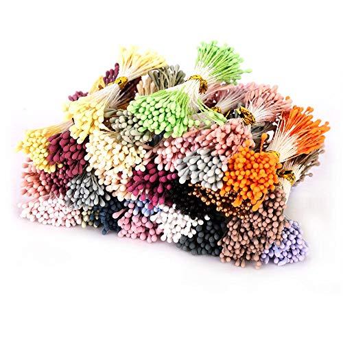 1800 piezas de estambre de flores artificiales, mini pistilo de estambre de flores de 1 mm para decoración de fiestas con 22 colores aleatorios