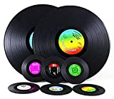 Vintage Vinyl Record Set of 6 Table Coasters and 2 Table Placemats, For Wine, Beer, Hot and Cold Drinks And Hot Plates. Vinyl Coasters & Place Mats Are Best Gift for Music Lovers
