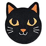 Celebrate Halloween Black Cat Round Bath Rug, Decorative Bath Mat Accessory for Bathroom Home Decoration and Party Decor, 22.5 x 26 Inches