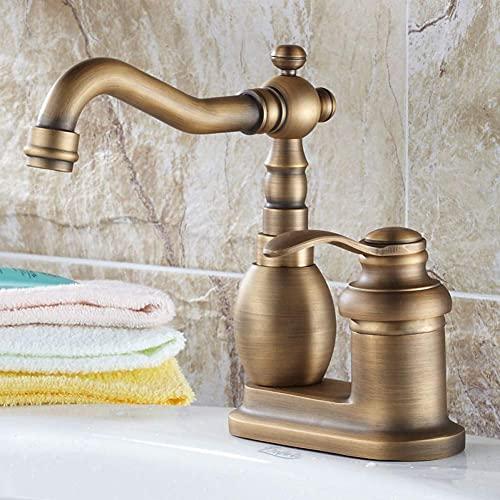 Grifo,latón Antiguo,Monomando,Monomando para Lavabo,Monomando,Monomando,con 2 Orificios,montado en la Cubierta,Agua fría y Caliente,grifos para Lavabo del baño