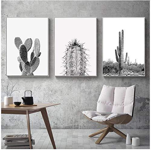 WLKQY Póster de lienzo de cactus suculentas, arte de pared minimalista moderno, carteles verdes e impresiones en blanco para decoración del hogar, 50x70cmx3 sin marco
