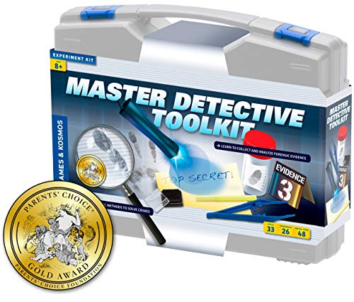 Thames & Kosmos Master Detective Toolkit   Forensic Science Experiment Kit   Fingerprints, Footprints, Tire Tracks   32-Page, Full-Color Experiment Story Book   Parents' Choice Gold Award Winner