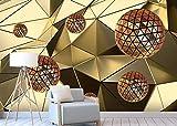Abstrait moderne espace métal or sphère 3D fond d'écran de la maison décoration murale sans soudure sticker-400x280cm