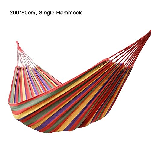 MIMI KING Portable Cammping Hammock Multi-Color Striped Thick Canvas Lightweight for Travel Hiking Beach Backyard Use,Red,Double