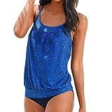 MORCHAN Femmes Plus Size imprimée Tankini Bikini Maillots de Bain Maillot de Bain Maillot de Bain (S, Bleu)