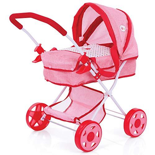 Hauck Little Mommy Puppenwagen Diana, Puppenkinderwagen mit abnehmbarer Softtasche und Spielzeugkorb, leicht zusammenklappbar - Rosa/ Rot