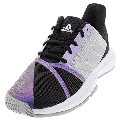 adidas Women's Courtjam Bounce Tennis Shoe, Black/Silver Metallic/Grey, 10.5
