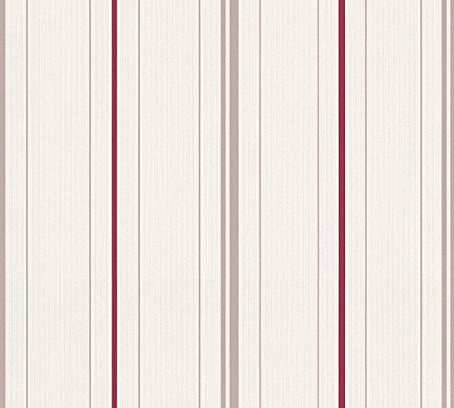 A.S. Création Vliestapete Happy Spring Tapete gestreift 10,05 m x 0,53 m beige creme rot Made in Germany 347645 34764-5
