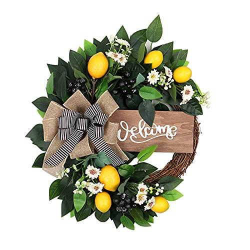 WUHNGD Artificial Lemon Wreath for Front Door, Artificial Fruit Wreath with Artificial Lemon Flowers and Green Leaves Decorative Lemon Garland for Home Wedding Party Decoration
