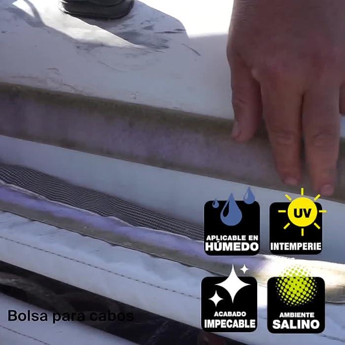 51zLaudqwRL Principales ventajas: especialista en el mantenimiento de barcos, fácil de aplicar, alta elasticidad, compatible con pinturas, multi-material, resistente al agua y a los rayos uv. Modo de empleo: cortar boquilla, colocar cartucho en la pistola de silicona, aplicar en juntas de dilatación evitando burbujas, el adhesivo húmedo se elimina con alcohol, isopropilo o acetona, el seco, mecánicamente. Aplicación: especial para pegar, sellar y rellenar material náutico que está en contacto directo con el agua, como cubiertas de barcos e imprescindible en la construcción naval y reparaciones de embarcaciones.