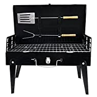 Denny International Black Barbecue Grill Fordable Portable with Carry Handle & Tools Charcoal BBQ
