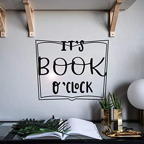 WERWN Tatuajes de Pared Frases de Palabras es Hora de los Libros Pegatinas de Vinilo para Ventanas Biblioteca librería Sala de Lectura decoración de Interiores Mural Creativo