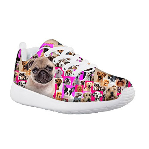 Price comparison product image HUGS IDEA Cute Pug Pattern Kids Casual Sneakers Comfort Lace Up Sport Running Shoes for Girls