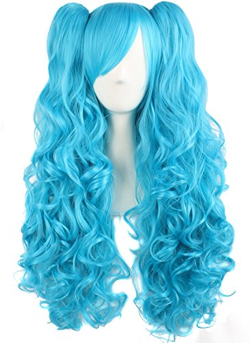 MapofBeauty 28'/70cm Lolita Long Curly Clip on Ponytails Cosplay Wig (Azure Blue)