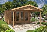 Alpholz Gartenhaus Spessart mit Doppeltür aus Massiv-Holz | Gerätehaus mit 44 mm Wandstärke | Garten Holzhaus mit Imprägnierung (pinie) | Geräteschuppen Größe: 380 x 660 cm | Satteldach