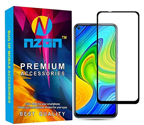 nzon 2.5D Curve Anti Fingerprint 0.33 mm Full Glue 11D Edge to Edge Tempered Glass Screen Protector Compatible for Redmi Mi 10X (Black)
