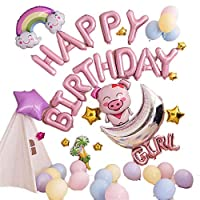 誕生日 Happy Birthday 飾り付け バルーンセット 子供 風船 バルーン パーティー 装飾 パーティーグッズ 可愛い EBI-039【ピンク】