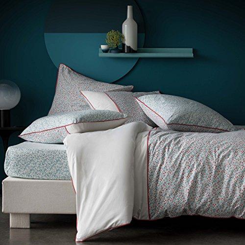 BLANC CERISE Parure de lit 100% Percale de Coton - Housse de Couette + taies d'oreiller Marsala Vert d'eau 240x220 cm