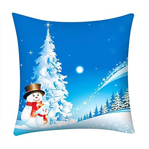 Fenverk Quadrat Weihnachten Kissenbezug Zuhause Auto Dekor Sofa Polster Abdeckung Muster Frohe KissenbezüGe Schneit Weihnachtsmann Claus Leinen Fall Zum Festival (B)