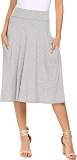 Qearal Womens Basic Solid Stretch Elastic High Waist Flare Knee Length A Line Skirts w/Pockets