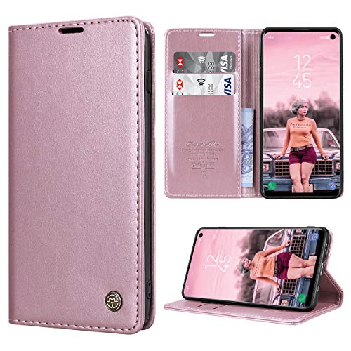RuiPower Handyhülle für Samsung Galaxy S10 Hülle Premium Leder PU Flip Case Magnetisch Klapphülle Wallet Lederhülle Silikon Bumper Schutzhülle für Samsung Galaxy S10 4G Hülle - Rose Gold