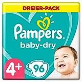 Pampers Baby-Dry Windeln, Gr. 4+, 10kg-15kg, Dreier-Pack (1 x 96 Windeln)