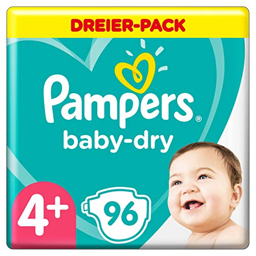 Pampers Baby-Dry Windeln, Gr. 4+, 10kg-15kg, Dreier-Pack (1 x 96 Windeln)