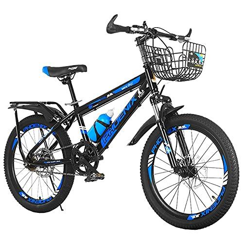FUFU Bicicletta all'aperto per Bambini da 20 Pollici, Singola velocità, Adatta per Ragazzi e Ragazze di età Compresa tra 9-14 Anni, Mountain Bike Regolabile (Color : Blue, Size : 20in)