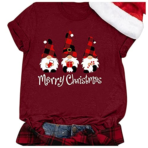 Camiseta de manga corta para mujer, diseño de árbol de Navidad, informal, con estampado de blusa, 30#, XXL