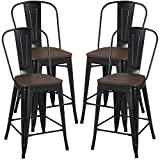 Yaheetech 24Inch Seat Height Tolix Style Dining Stools Chairs with Wood Seat/Top and High Backrest, Industrial Metal Counter Height Stool, Modern Kitchen Dining Bar Chairs Rustic, Black, Set of 4