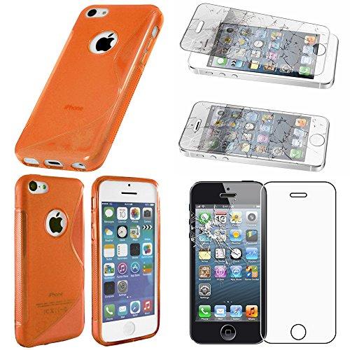 ebestStar - Funda Compatible con iPhone SE 5S 5 Carcasa Gel Silicona Gel TPU Motivo S-línea, S-Line Case Cover, Naranja + Cristal Templado Protector Pantalla [Aparato: 123.8 x 58.6 x 7.6mm, 4.0'']