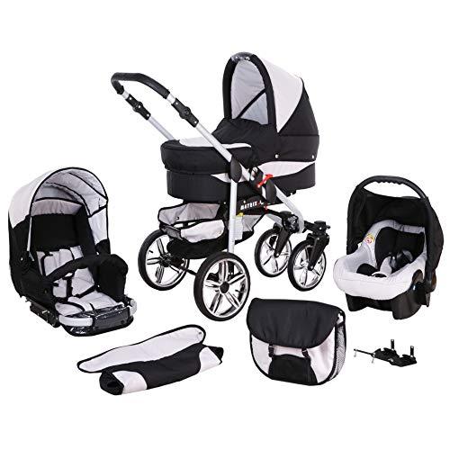 Kinderwagen 3 in 1 alles in einem Isofix Kombi Komplettset mit Autositz Matrix II by ChillyKids Schwarz & Weiß 3in1 mit Autositz