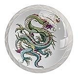 Tirador para Muebles Dragon Chino Perilla De Muebles Cristal Tirador De Cajón para Sala De Estar Dormitorio Cocina Baño-4Pcs 35x28mm